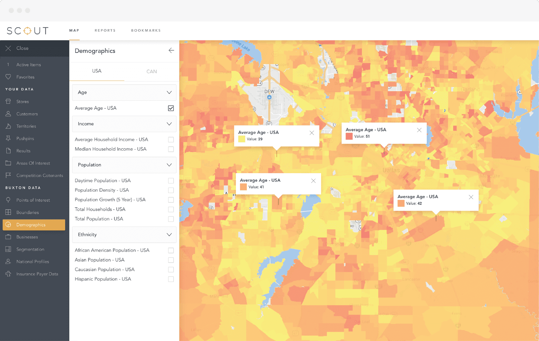 Demographic Reports Screen in SCOUT