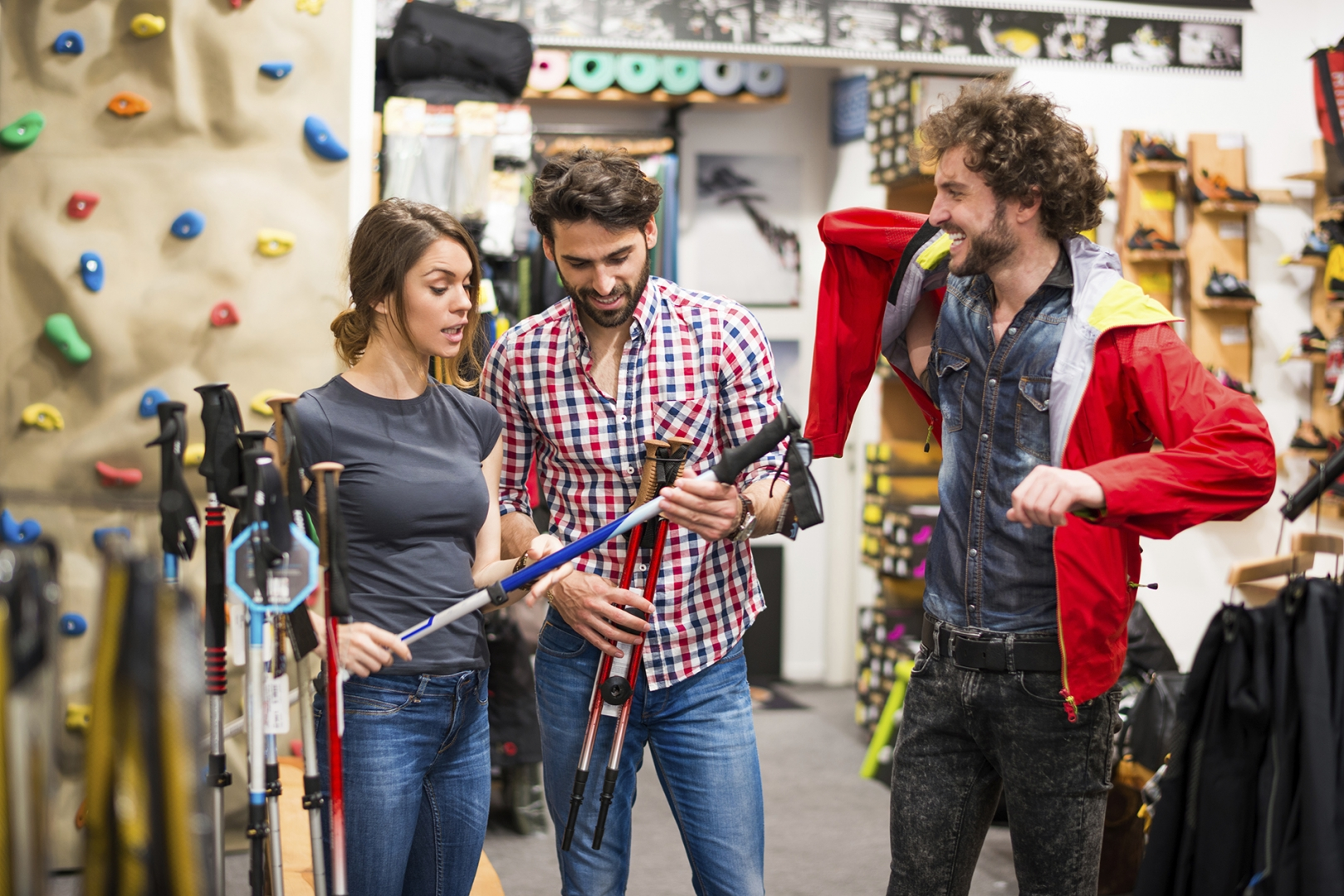 customers shopping at a sports equipment retailer
