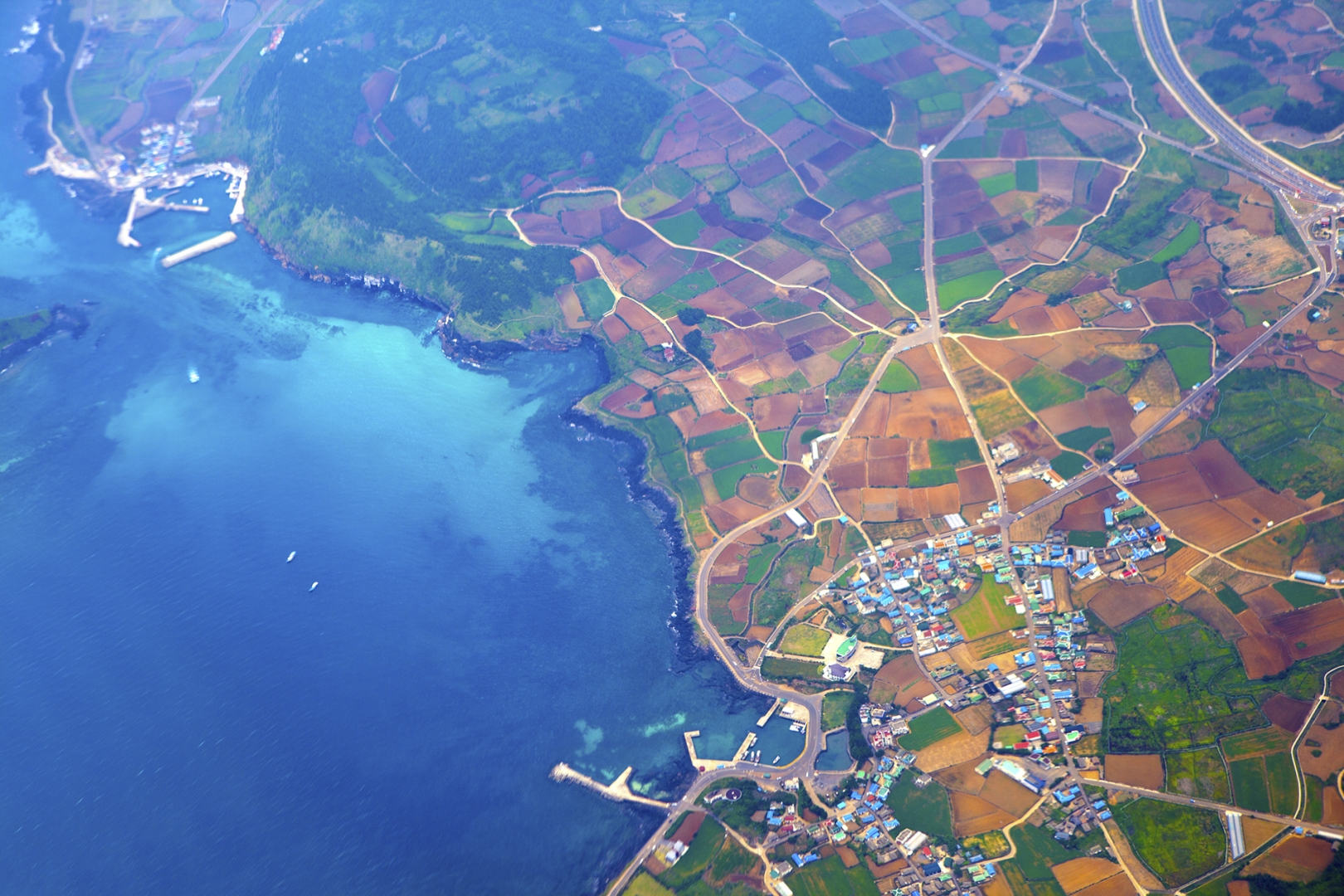 aerial photo of bay