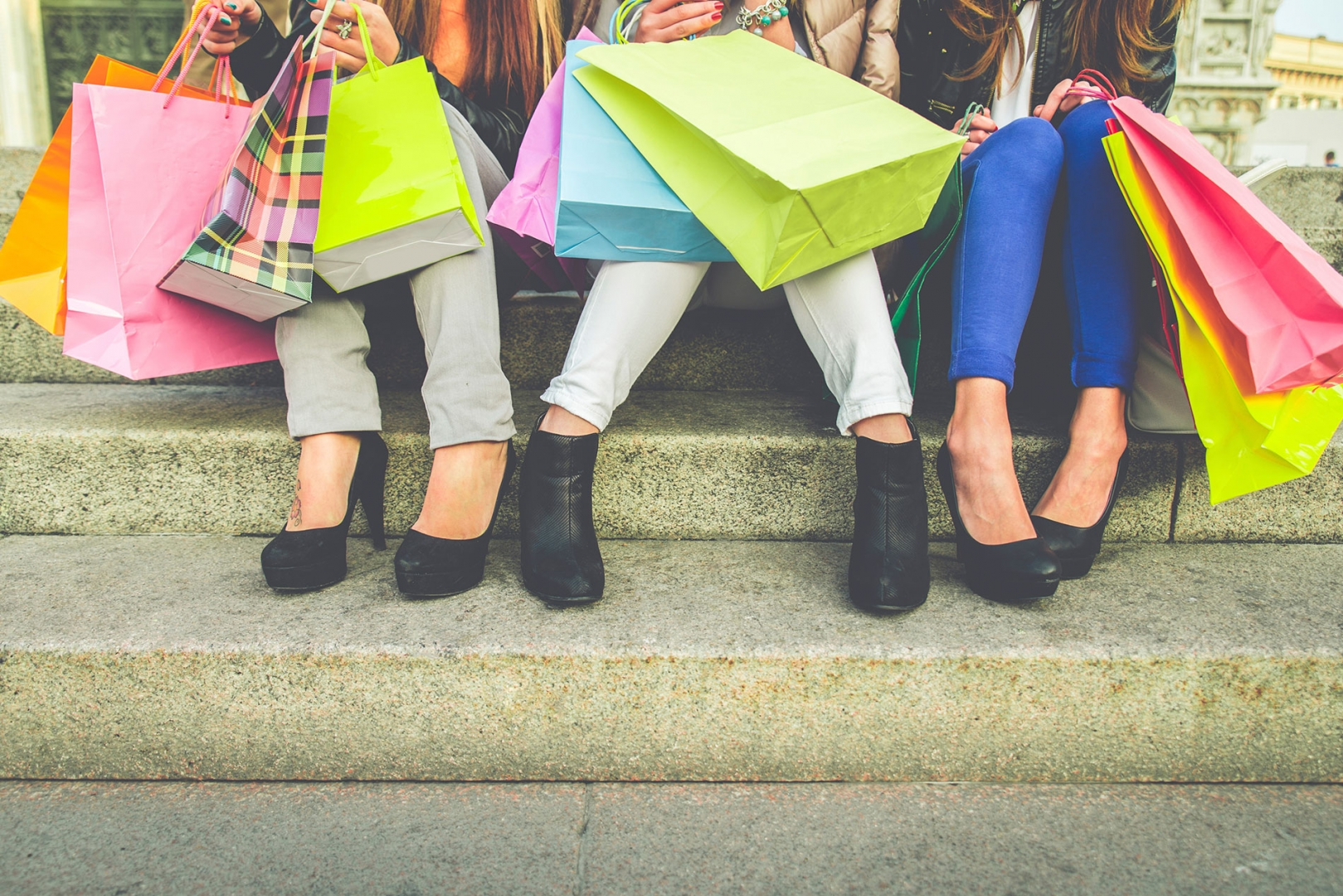 Female shoppers take a break from shopping
