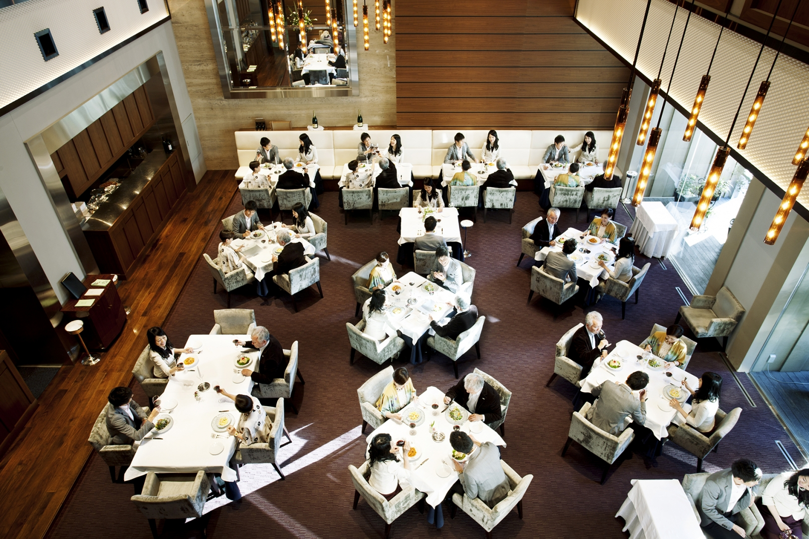 aerial view of diners in a restaurant