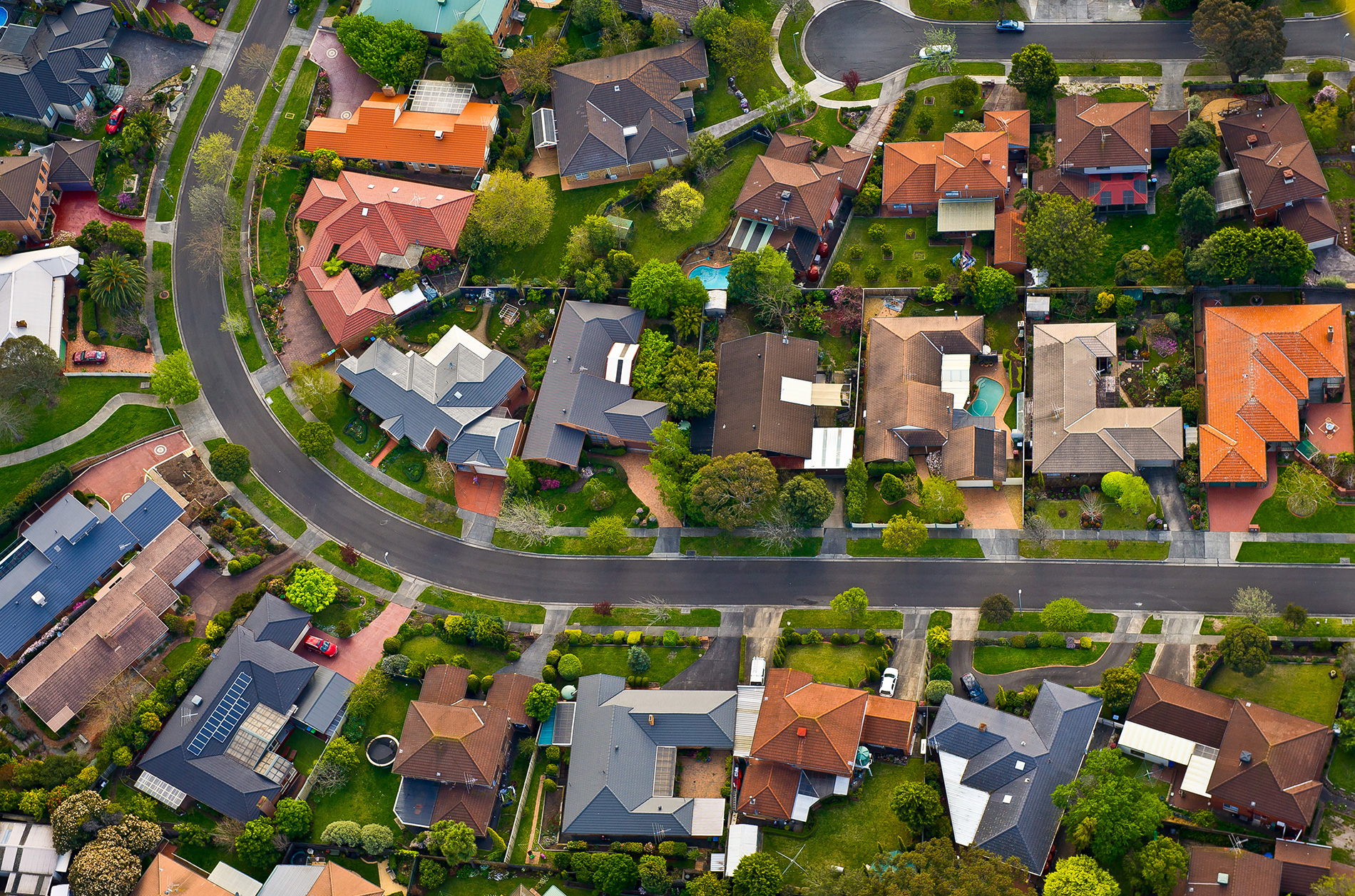 Rooftops in neighborhood