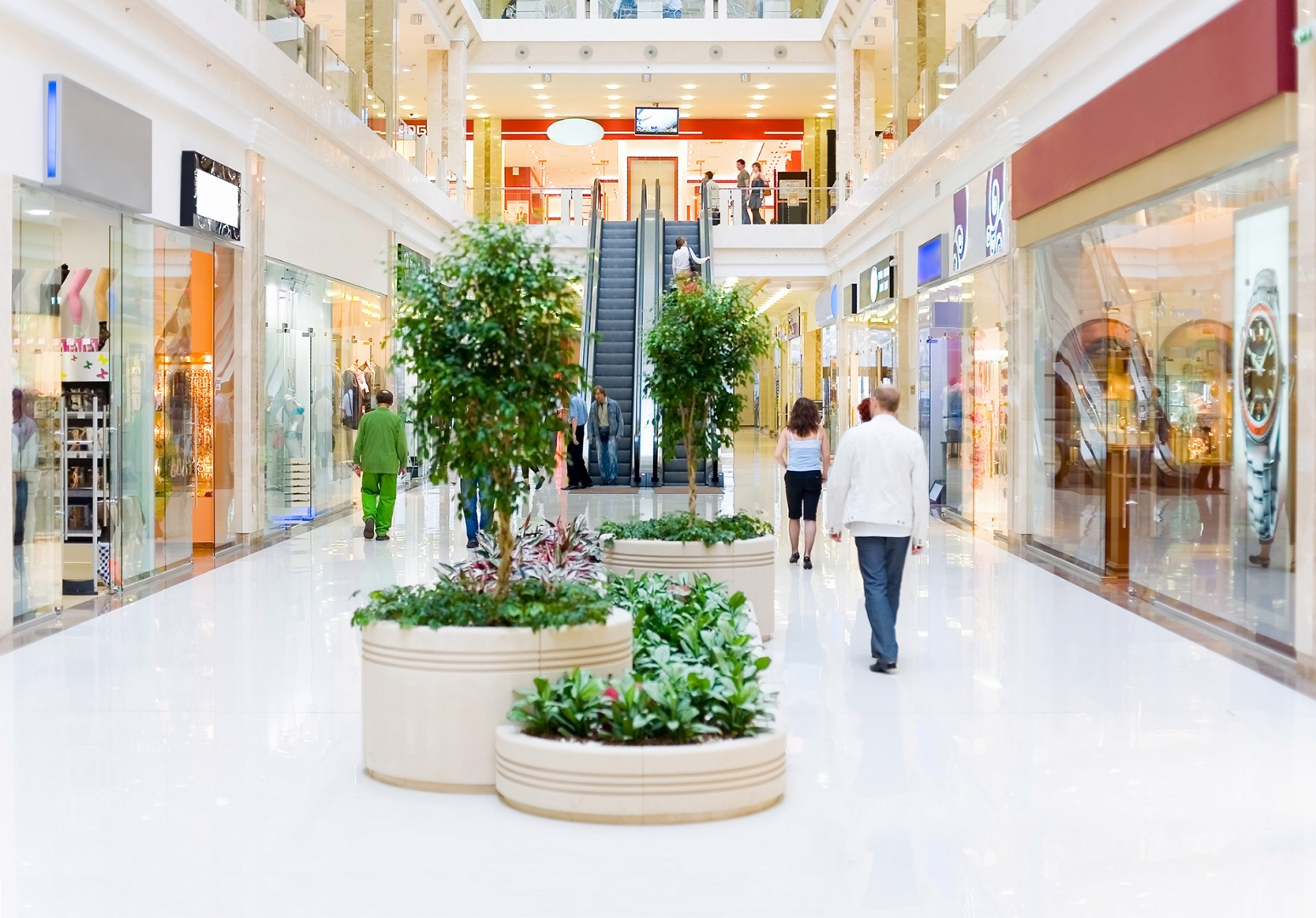 shoppers walking in a shopping mall