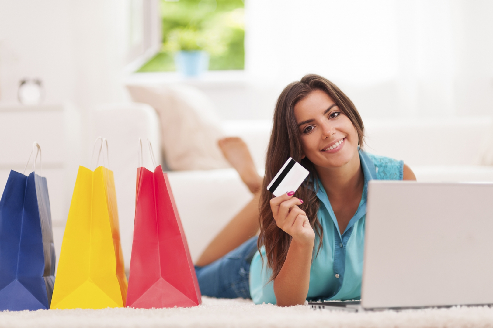 A female consumer shops online