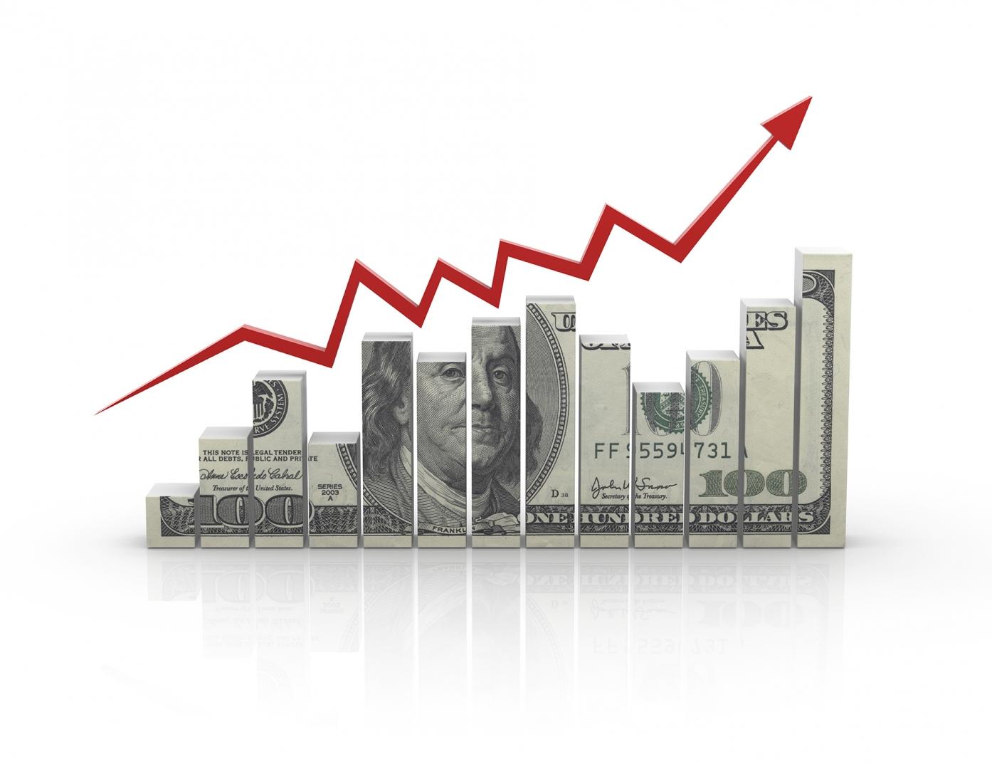 dollar bill represented as a growing bar chart
