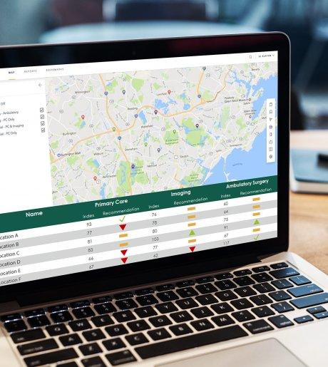 Healthcare site selection screen